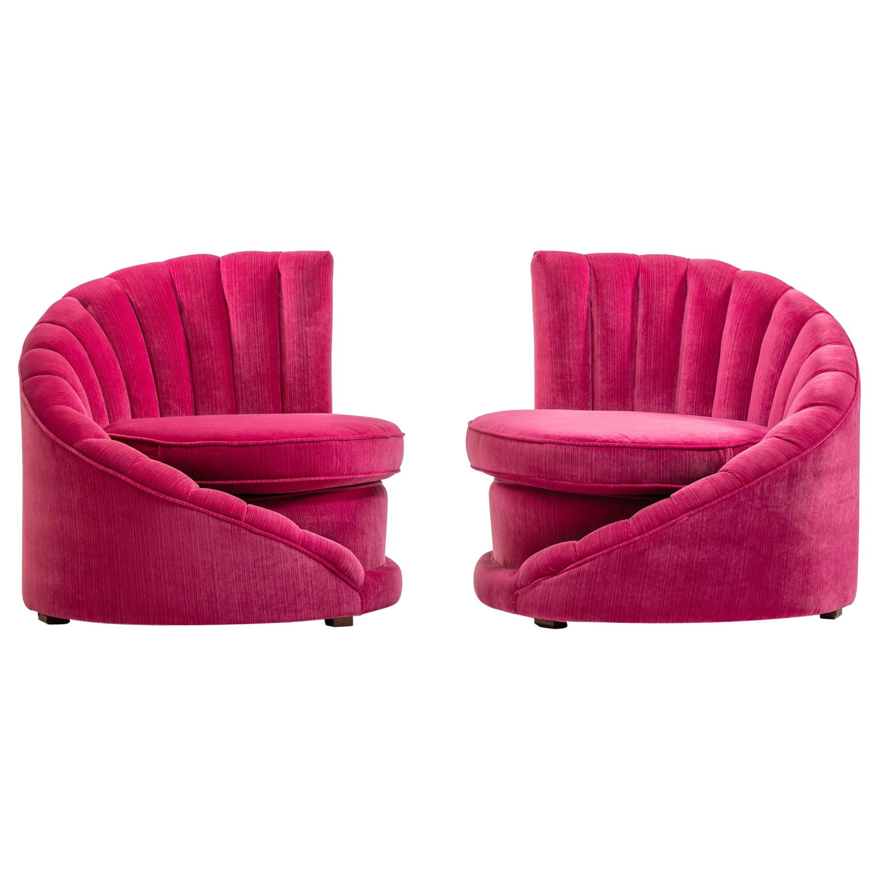 Delicieux Pair Of Hollywood Regency Asymmetrical Slipper Chairs In Hot Pink Strie  Velvet For Sale