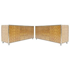 Pair of Hollywood Regency Bamboo Sideboards, Italy, 1970s