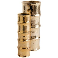 Pair of Hollywood Regency Bamboo Vases in 24-Karat Gold-Plated Metal