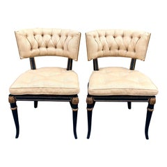 Pair of Hollywood Regency Black and Gold Klismos Chairs