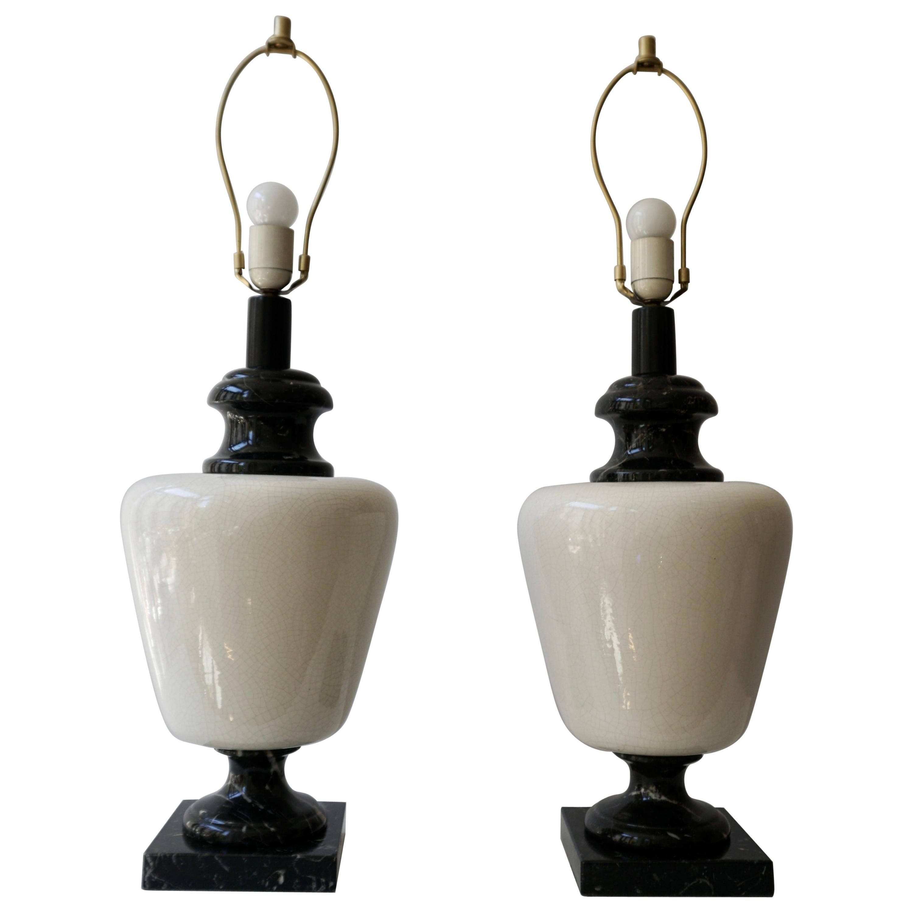 Pair of Hollywood Regency Black and White Marble Table Lamps
