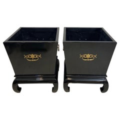 Pair of Hollywood Regency Black Lacquer Planters
