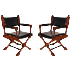 Pair of Hollywood Regency Black Leather X-Base Director or Campaign Chairs