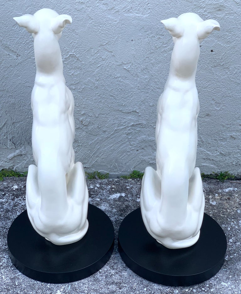 20th Century Pair of Hollywood Regency Black and White Whippets For Sale