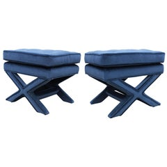 Pair of Hollywood Regency Blue Mohair X Base Ottomans/Stools by Milo Baughman