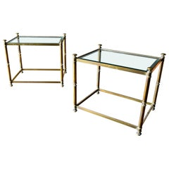 Pair of Hollywood Regency Brass and Beveled Glass Side Tables, circa 1970