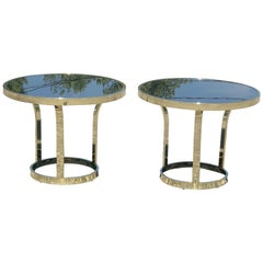 Pair of Hollywood Regency Brass and Black Glass Tables