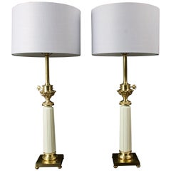 Pair of Hollywood Regency Brass and Ceramic Stiffel Table Lamps