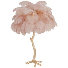 Pair of Hollywood Regency Brass and Pink Feather Lamps