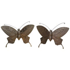 Pair of Hollywood Regency Brass Butterflies