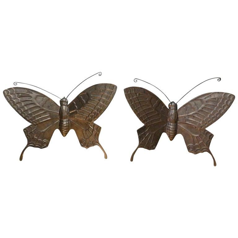 Pair of Hollywood Regency Brass Butterflies For Sale