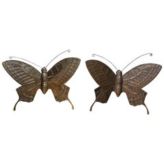 Pair of Hollywood Regency Brass Butterflies