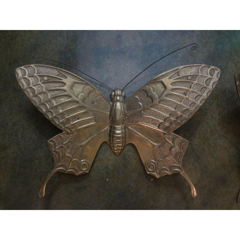 Pair of Hollywood Regency Brass Butterflies In Good Condition For Sale In Houston, TX