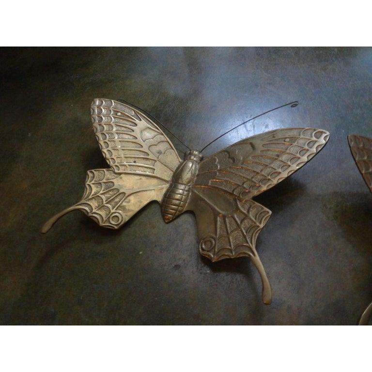 Pair of Hollywood Regency Brass Butterflies For Sale 1