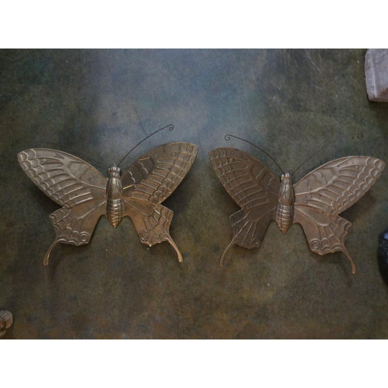 Pair of Hollywood Regency Brass Butterflies For Sale 2