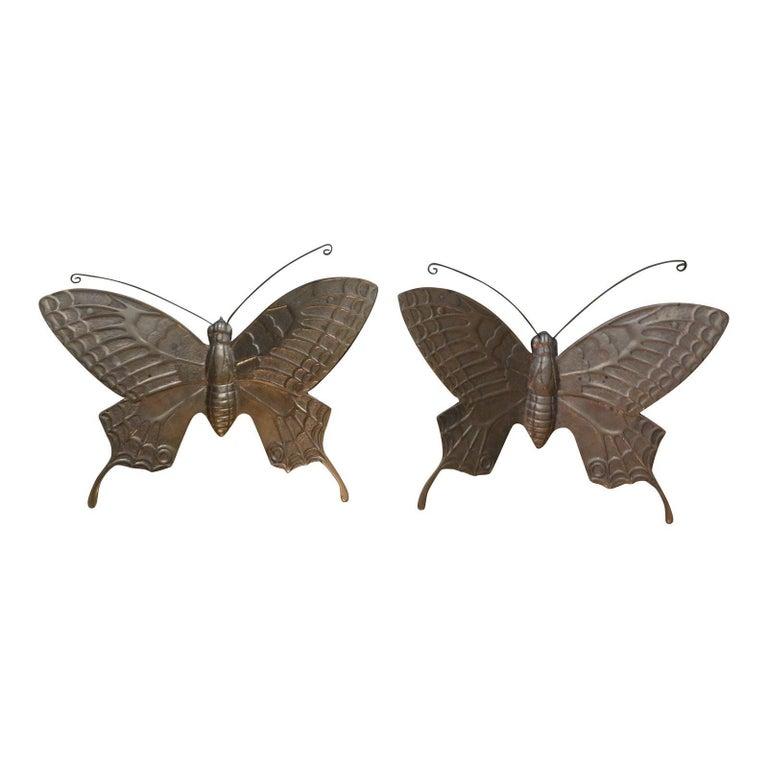 Pair of Hollywood Regency Brass Butterflies For Sale 3