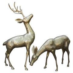 Pair of Hollywood Regency Brass Deer Figures