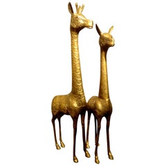 Pair of Hollywood Regency Brass Giraffes