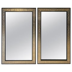 Pair of Hollywood Regency Brass over Ebonized Wood Moroccan Mirrors