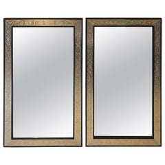 Pair of Hollywood Regency Brass over Wood Moroccan Black Mirrors