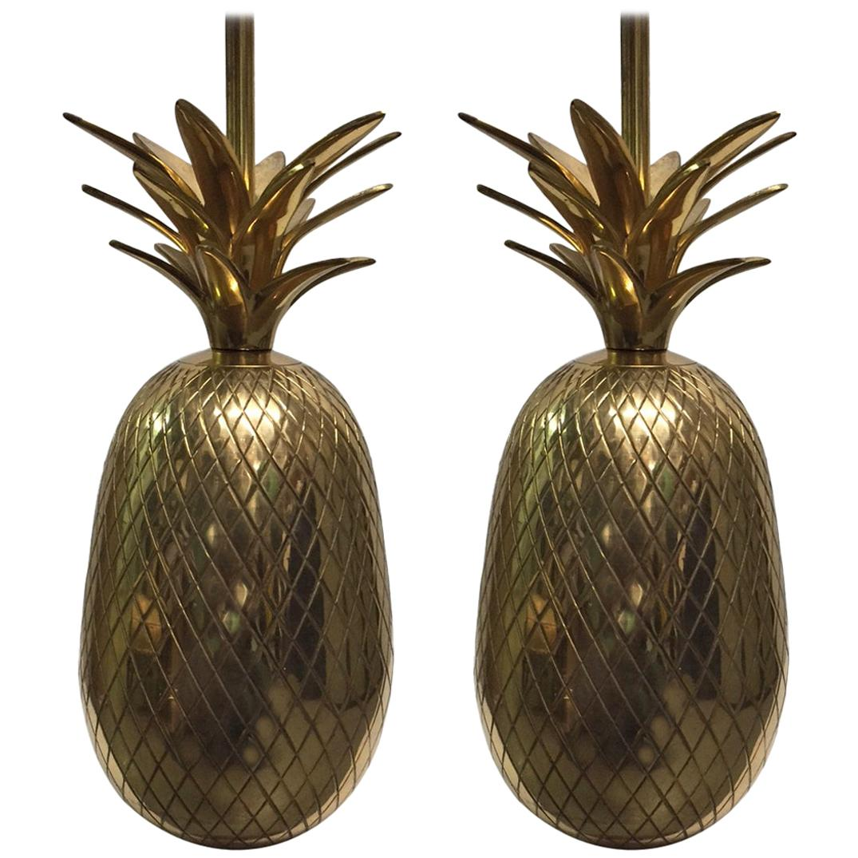 Pair of Hollywood Regency Brass Pineapple Lamps