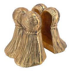 Pair of Hollywood Regency Brass Tassel Bookends