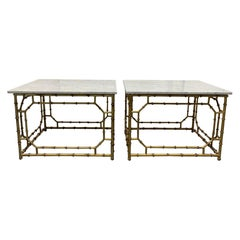 Pair of Hollywood Regency Carrara Marble-Top Faux Bamboo Tables
