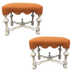 Pair of Hollywood Regency Cerused Benches