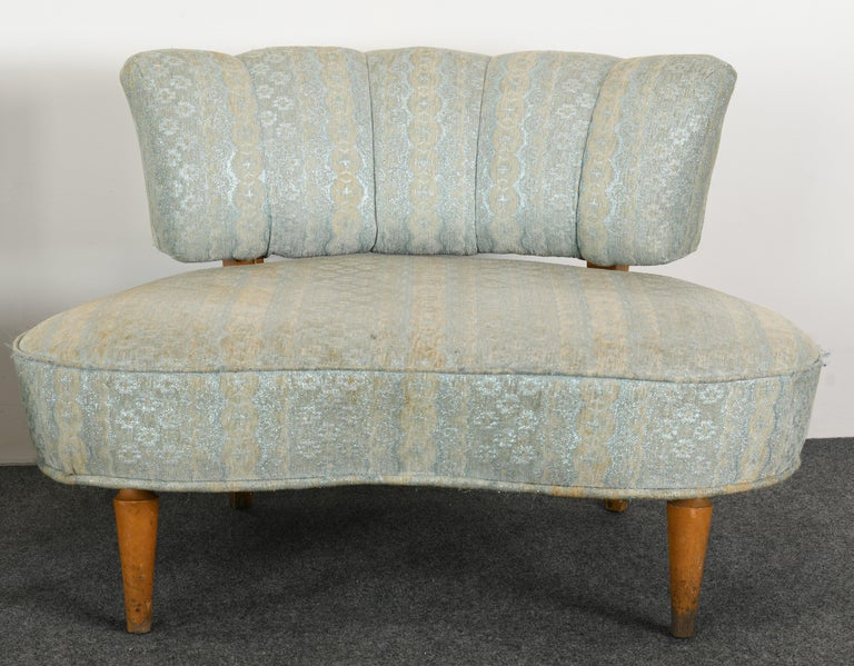 Upholstery Pair of Hollywood Regency Chairs, 1940s For Sale