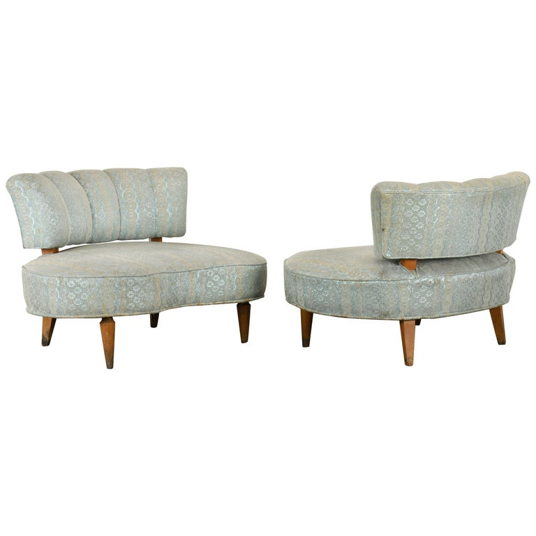 Pair of Hollywood Regency Chairs, 1940s For Sale