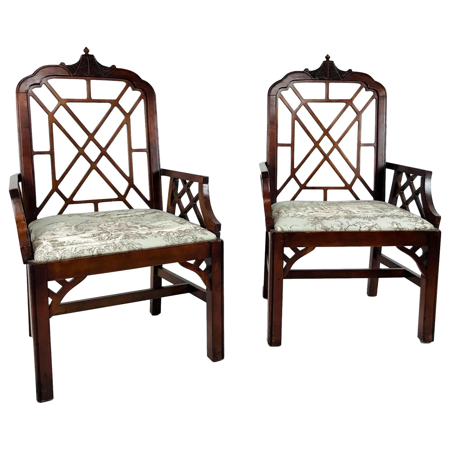 Pair of Hollywood Regency Chinese Chippendale Chairs
