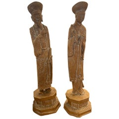 Pair of Hollywood Regency Chinese Figures, Mid 20th Century
