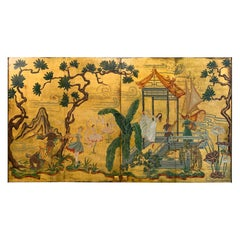 Pair of Hollywood Regency Chinoiserie Door Panel Paintings
