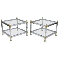 Pair of Hollywood Regency Chrome Brass Glass Square End Tables