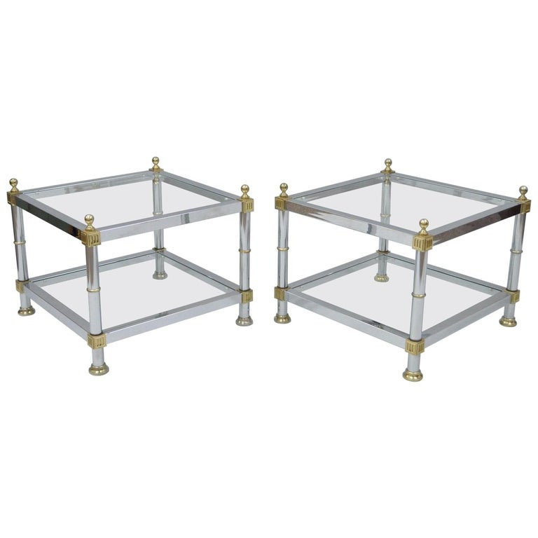 Pair Of Hollywood Regency Chrome Br Gl Square End Tables