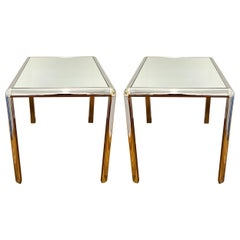 Pair of Hollywood Regency Chrome Side Tables with Mirrored Tops, c. 1970's