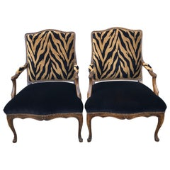 Pair of Hollywood Regency Club Chairs, Zebra Print Velvet Upholstery, Oak Frames