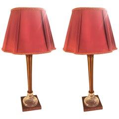 Pair of Hollywood Regency Crystal Base Metal Hand-Painted Lamps & Custom Shades
