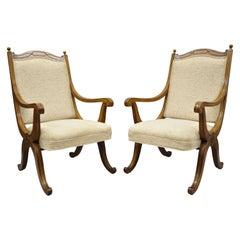 Pair of Hollywood Regency Curule Savonarola Upholstered Back X-Frame Armchairs