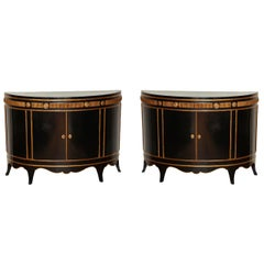 Pair of Hollywood Regency Demi-Lune Cabinets