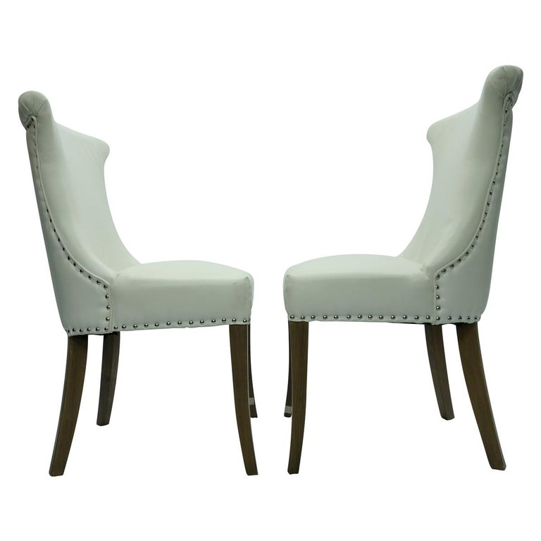 American Pair of Hollywood Regency Dining Chairs with Rolled Back and Nail Head Trim For Sale