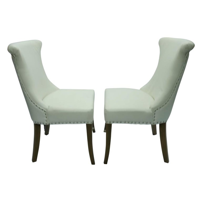 Pair of Hollywood Regency Dining Chairs with Rolled Back and Nail Head Trim In Good Condition For Sale In New York, NY