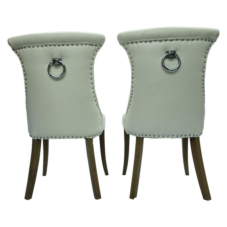 Late 20th Century Pair of Hollywood Regency Dining Chairs with Rolled Back and Nail Head Trim For Sale