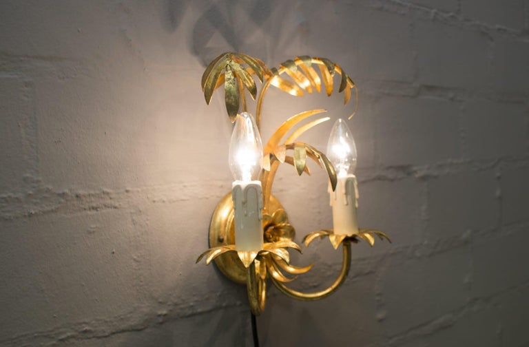 Pair of Hollywood Regency Double Palm Wall Lights by Hans Kögl, Germany, 1970s For Sale 4