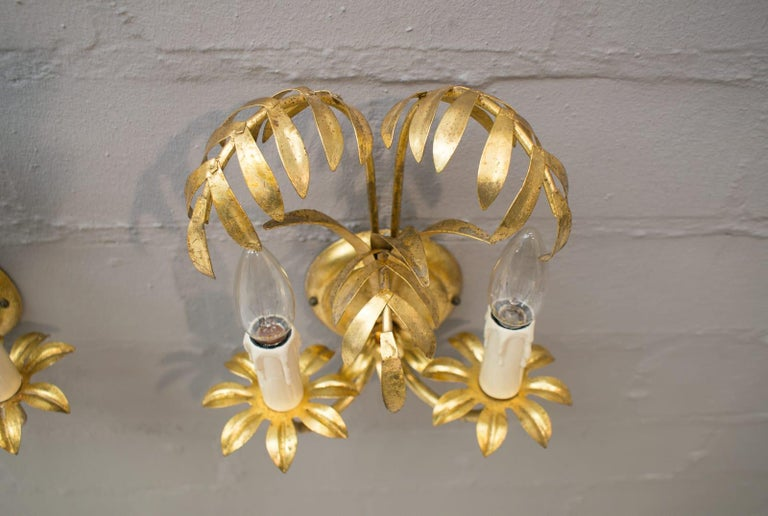 Gilt Pair of Hollywood Regency Double Palm Wall Lights by Hans Kögl, Germany, 1970s For Sale