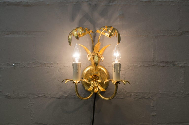 Late 20th Century Pair of Hollywood Regency Double Palm Wall Lights by Hans Kögl, Germany, 1970s For Sale