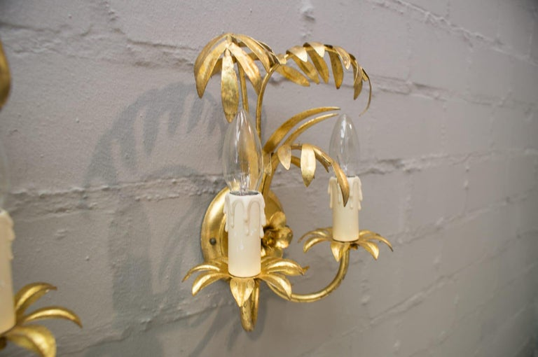 Brass Pair of Hollywood Regency Double Palm Wall Lights by Hans Kögl, Germany, 1970s For Sale
