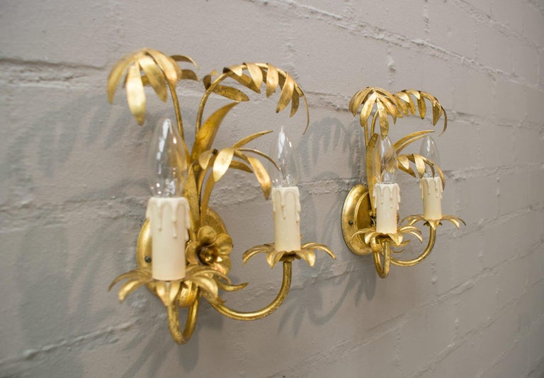 Pair of Hollywood Regency Double Palm Wall Lights by Hans Kögl, Germany, 1970s For Sale 1