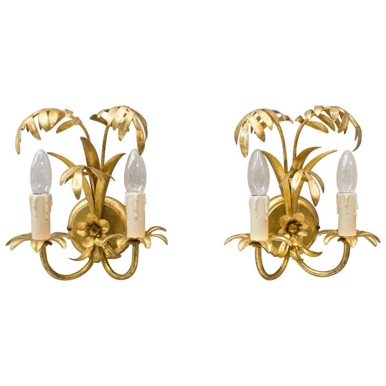 Pair of Hollywood Regency Double Palm Wall Lights by Hans Kögl, Germany, 1970s For Sale