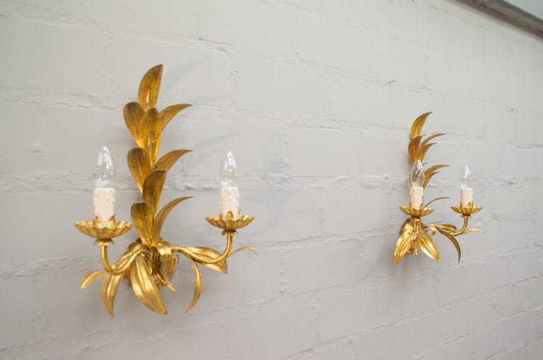 Gilt Pair of Hollywood Regency Double Wall Lights by Hans Kögl, Germany, 1970s For Sale